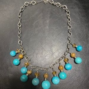Brown and teal fashion necklace